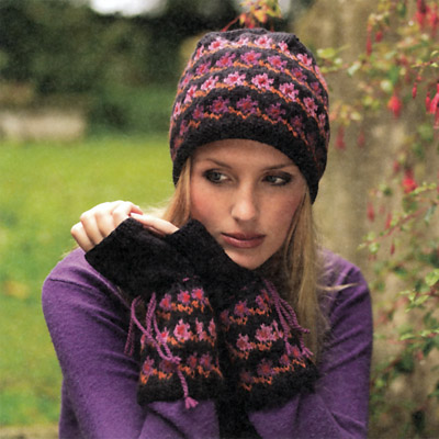 Bavarian Flower Beanie & Fingerless Gloves