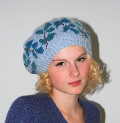 Leafy Beret on Baby Blue worn by model