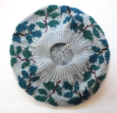 Leafy Beret on Baby Blue underside view