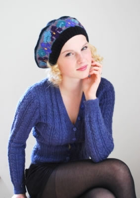 Violets Beret on Navy worn by model