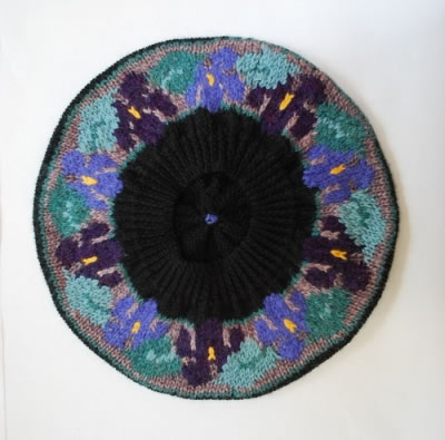 Violets Beret on Navy underside view