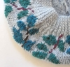 Leafy Beret on Baby Blue underside view detail